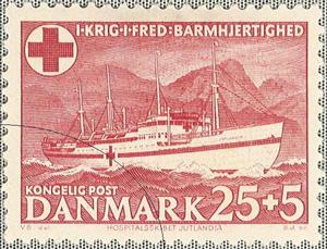 Det danske frimærke med Jutlandia som motiv