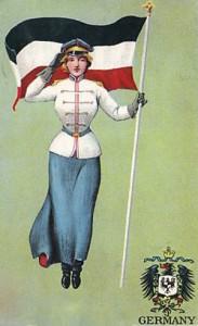 Tysk Kvinde med et tysk flag (fra 1906)