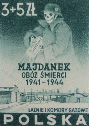 Polsk frimærke med Majdanek og en Zyclon B Død