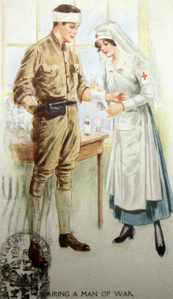 En sygeplejerske forbereder en soldat for krig